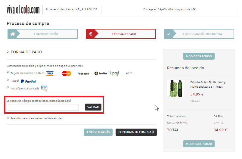 Descuento Código Promocional VivaelCole.com