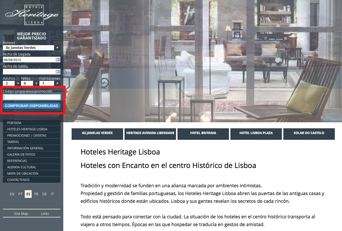 Descuento Código descuento Heritage Lisboa Hotels