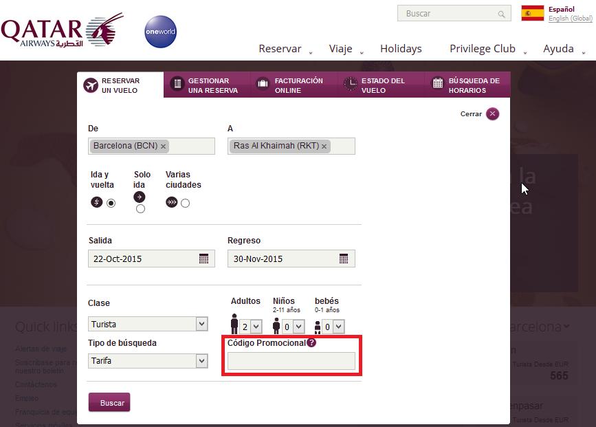 Descuento Código Promocional QatarAirways