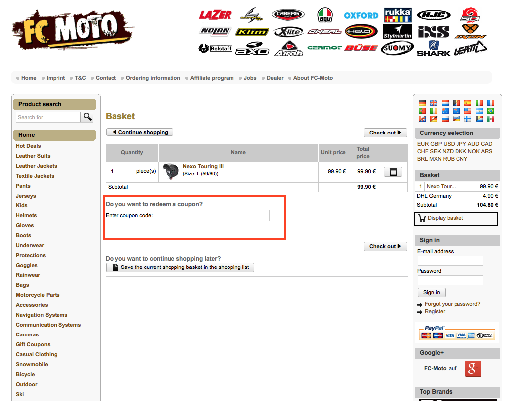 Descuento Código Cupón FC Moto