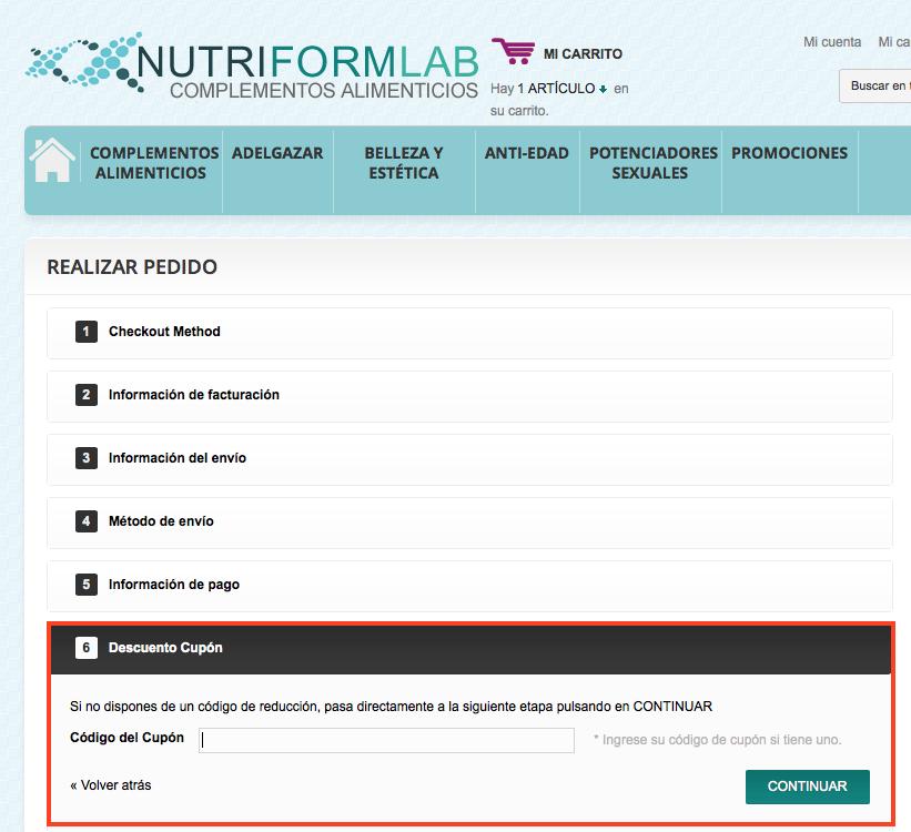 Descuento Cupón Descuento NutriFormLab
