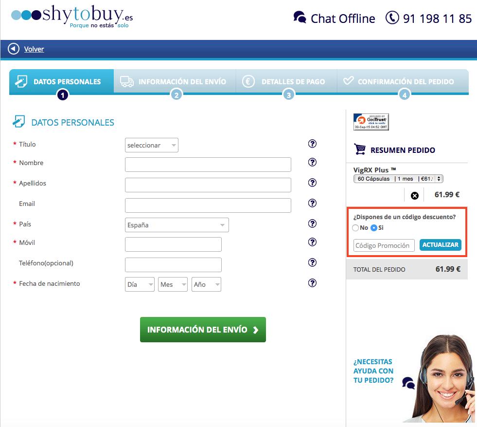 Descuento Código descuento Shy to buy