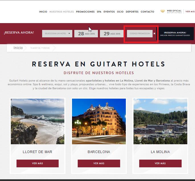 Descuento Código Promocional Guitart Hoteles