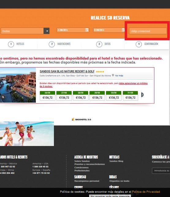 Descuento Código Promocional Sandos Hoteles