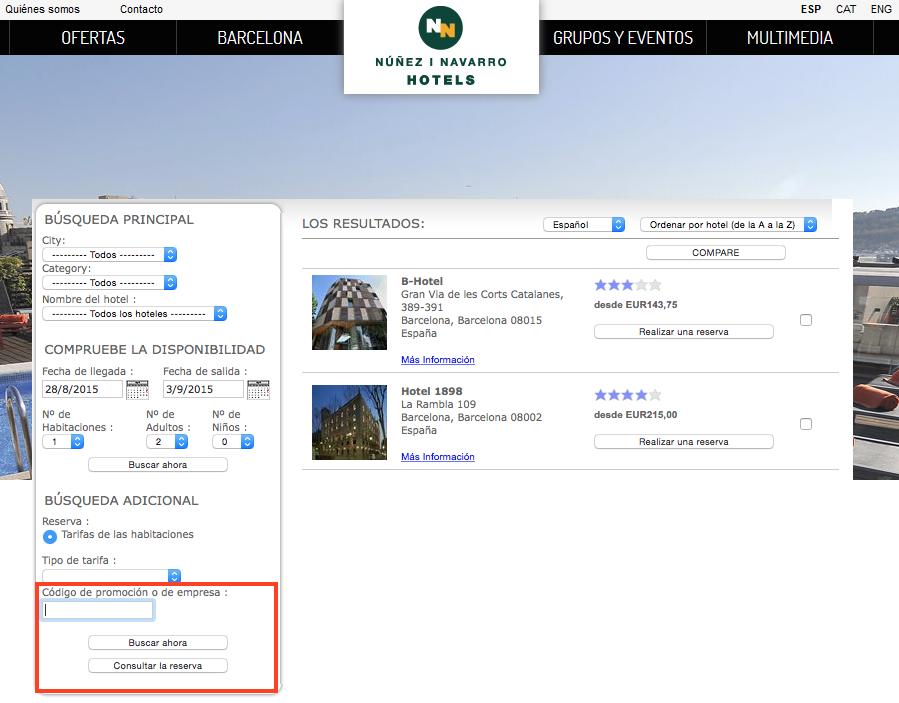 Descuento Código Promocional NN Hoteles