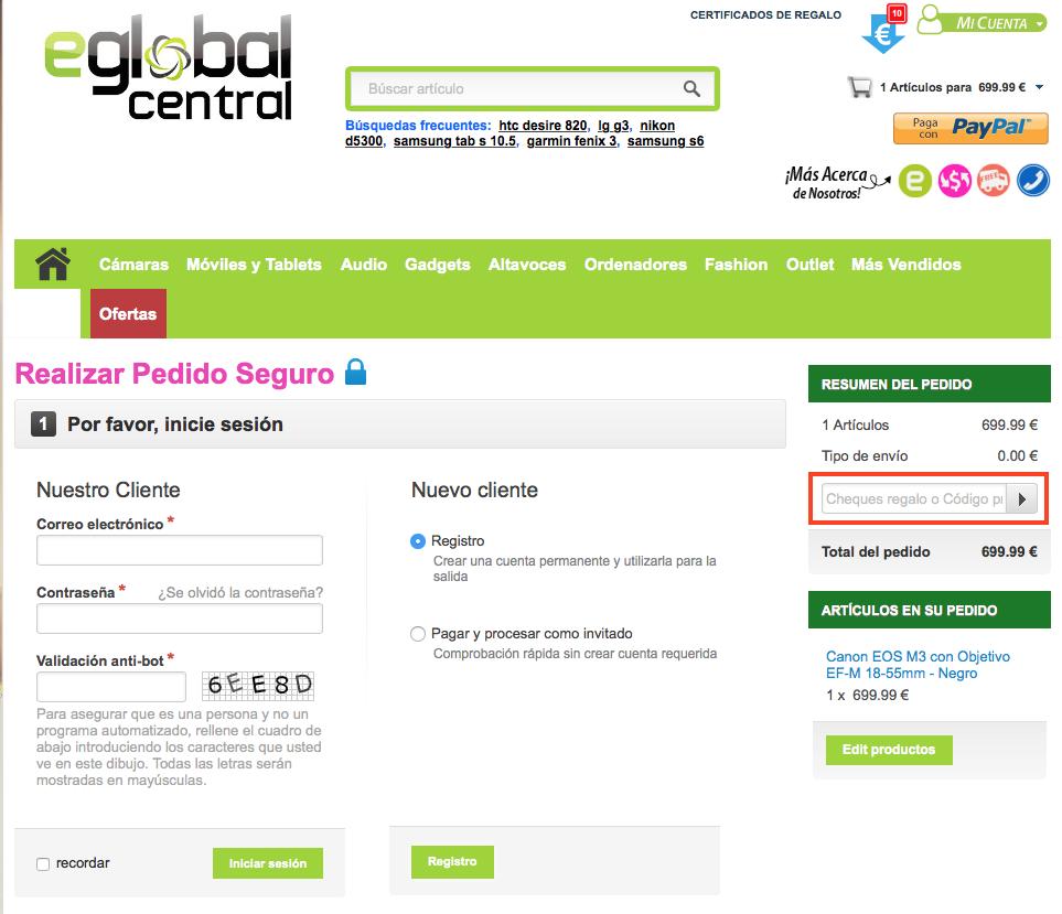 Descuento Código Descuento eGlobal Central