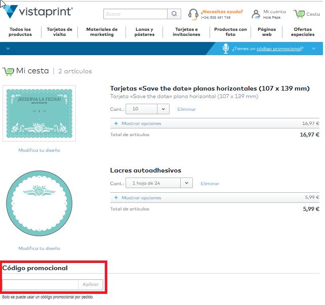 Descuento Código Promocional VistaPrint