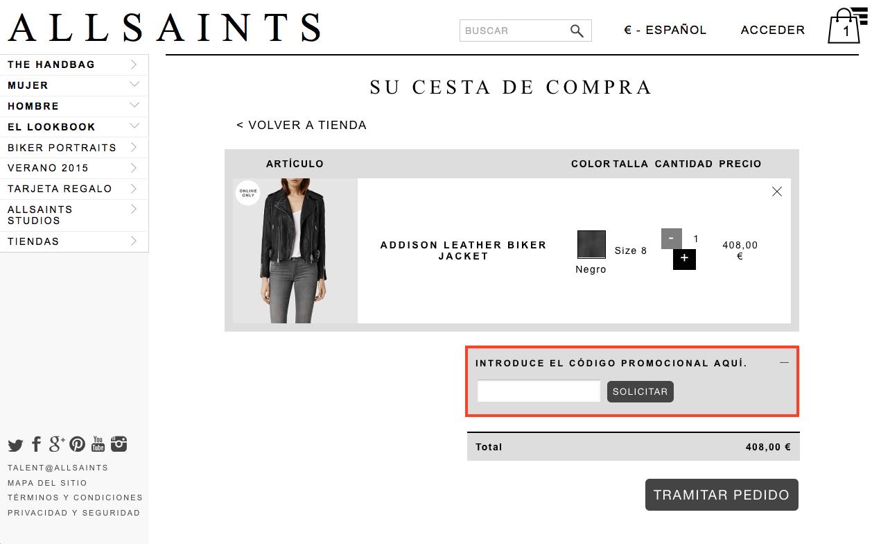Descuento Código de Promoción All Saints