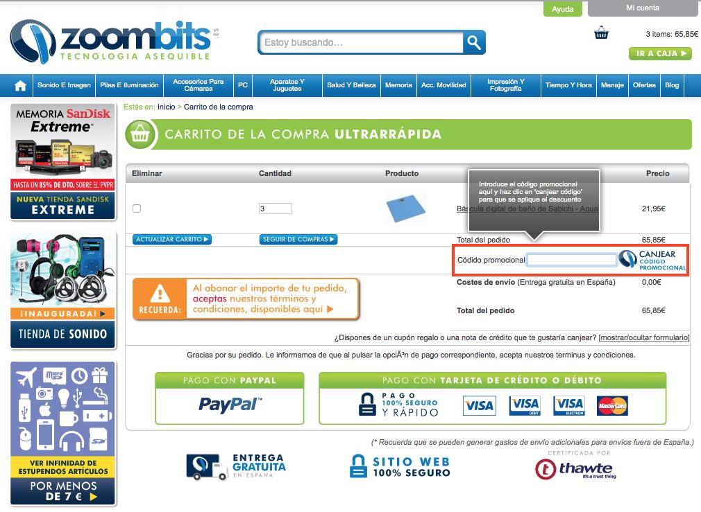 Descuento Código promocional Zoombits
