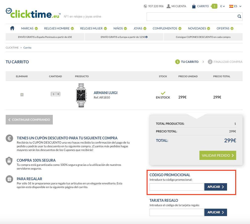 Descuento Código Promocional Clicktime