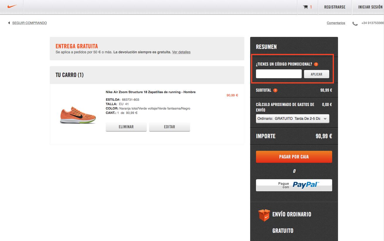 Descuento Código Promocional Nike