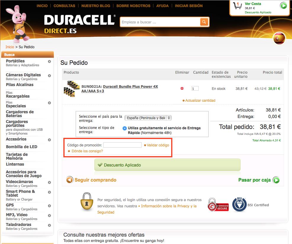Descuento Código Promoción Duracell Direct