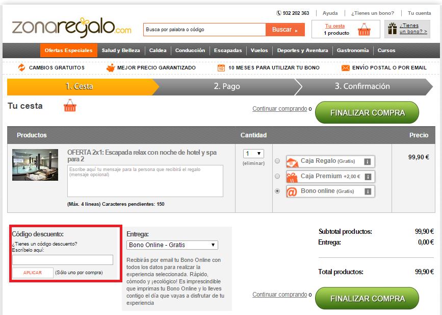 Descuento Código Descuento Zonaderegalo.com