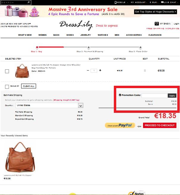 Descuento Código promocional Dresslily