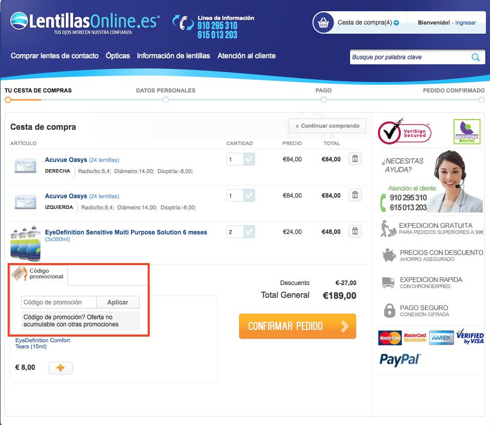 Descuento Código promocional lentillasonline.es