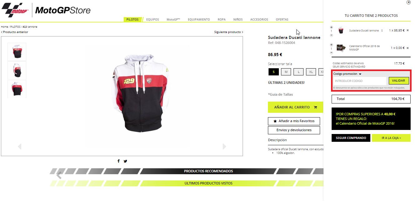 Descuento Código Promocional  MotoGP