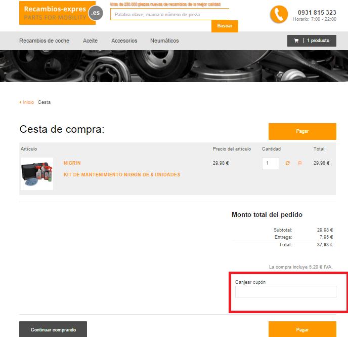 Descuento Cupón Descuento Recambios-expres.es