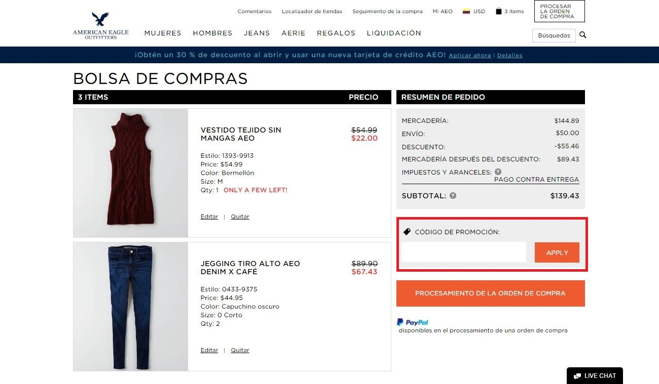 Descuento Código Promocional American Eagle Outfitters