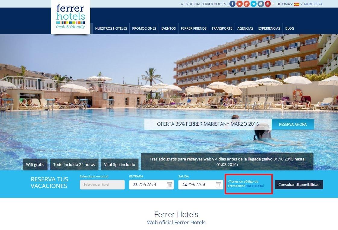 Descuento Código Promocional Ferrer Hotels
