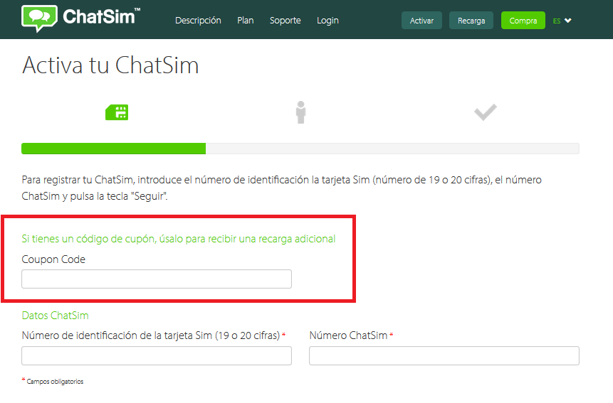 Descuento Cupones Códigos ChatSim